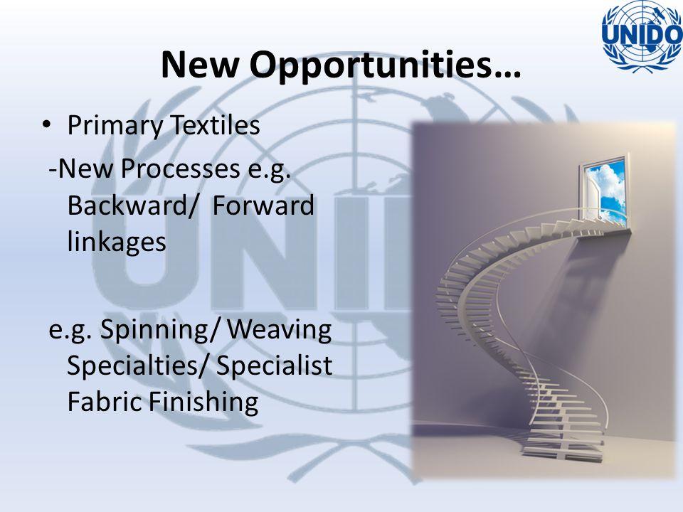 Primary Textiles -New Processes e.g.Backward/ Forward linkages e.g.
