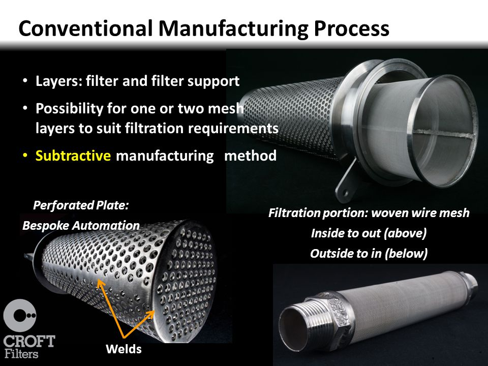Filtration Perforated plate Filter support Mesh filter Fluid flow Pressure drop across a filter determines the amount of energy required for pumping Turbulence created by change in fluid flow direction increases resistance 13% UK industrial electrical energy is used for pumping Costing £728 million in 2007 Represents 6% of the UK's carbon footprint The British Pump Manufacturers Association commissioned Report into pump usage in the UK (UK Pump Market Study , by Steve Schofield (BPMA) and John Veness.2007