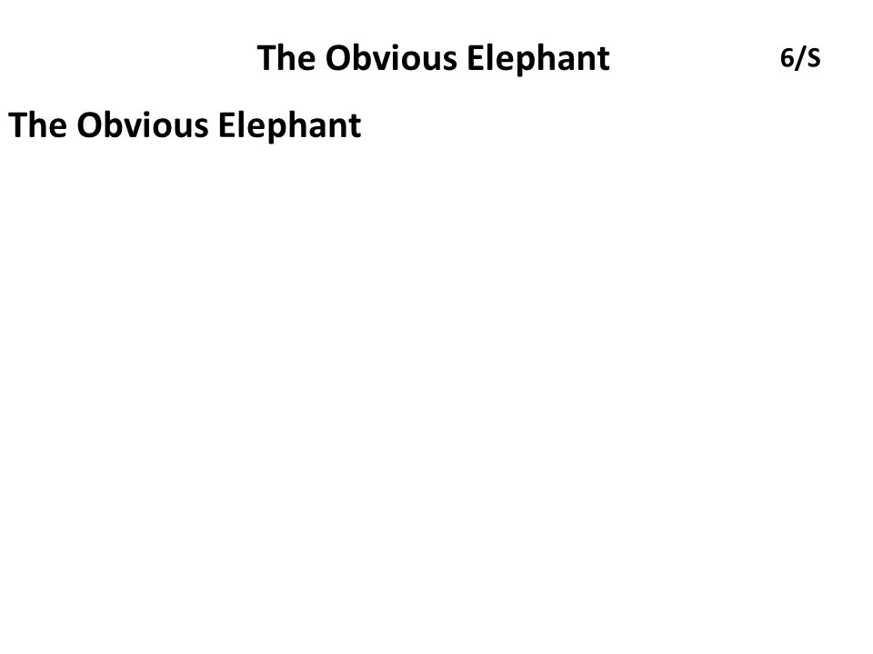 The Obvious Elephant 6/S