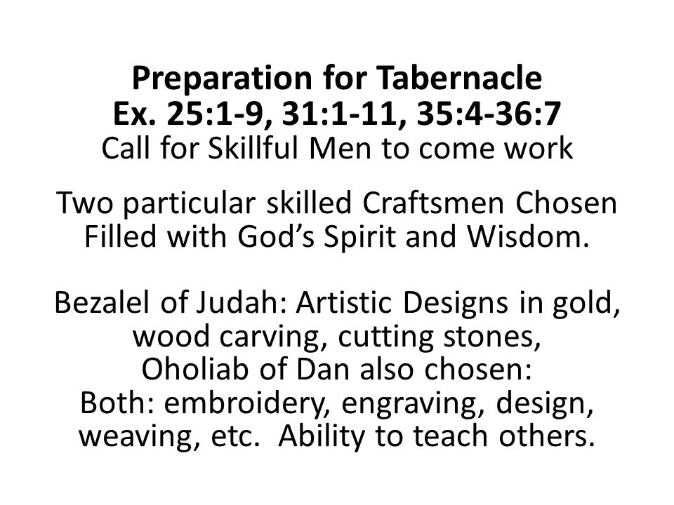 Preparation for Tabernacle Ex.
