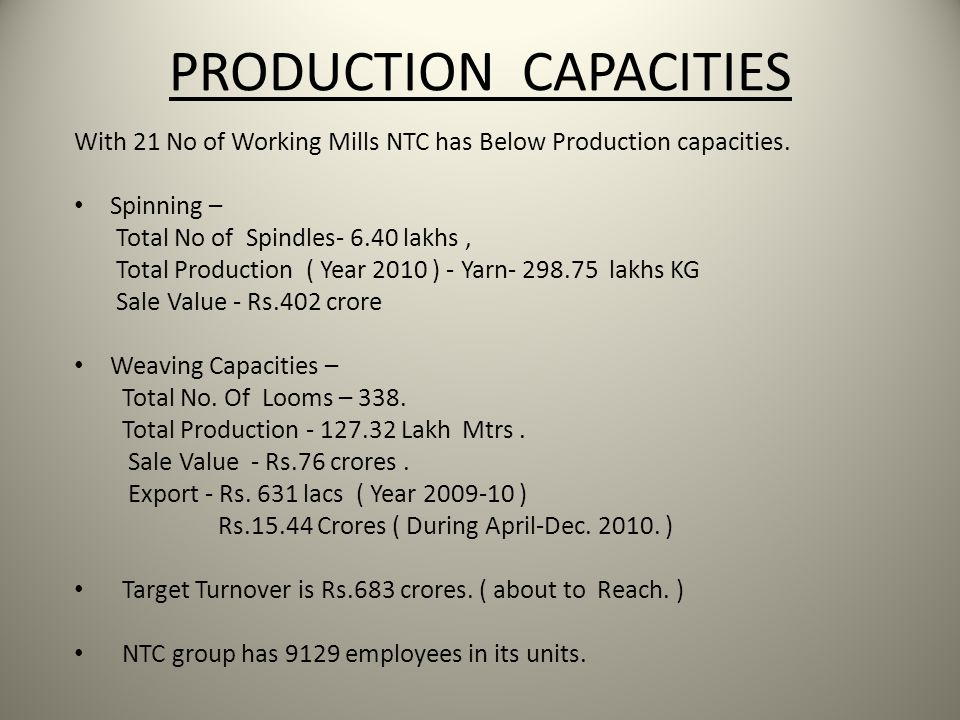 PRODUCTION CAPACITIES With 21 No of Working Mills NTC has Below Production capacities. Spinning – Total No of Spindles- 6.40 lakhs, Total Production (