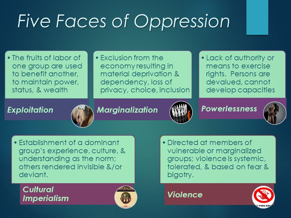 Five Faces of Oppression The fruits of labor of one group are used to benefit another, to maintain power, status, & wealth Exploitation Exclusion from