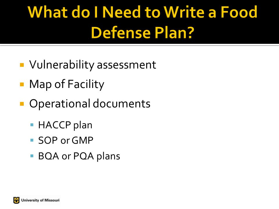  Designate a food defense coordinator to develop, implement and maintain the Food Defense Plan