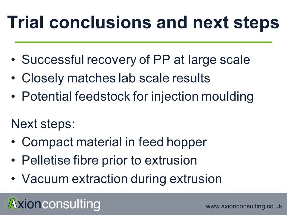 Trial conclusions and next steps Successful recovery of PP at large scale Closely matches lab scale results Potential feedstock for injection moulding Next steps: Compact material in feed hopper Pelletise fibre prior to extrusion Vacuum extraction during extrusion