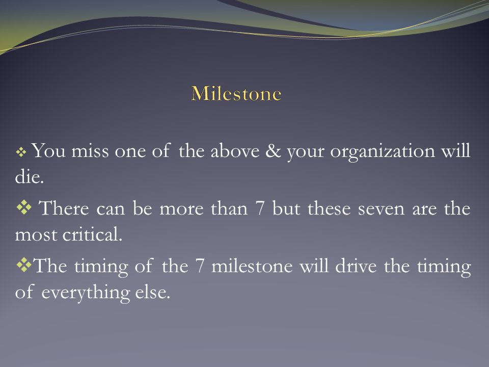  You miss one of the above & your organization will die.