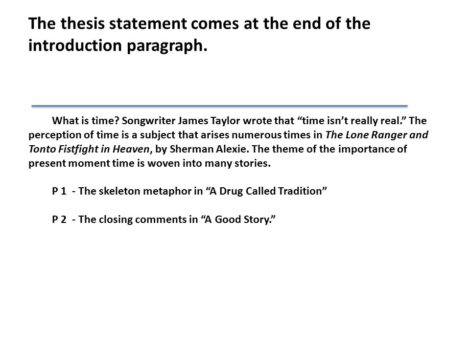 The thesis statement comes at the end of the introduction paragraph.