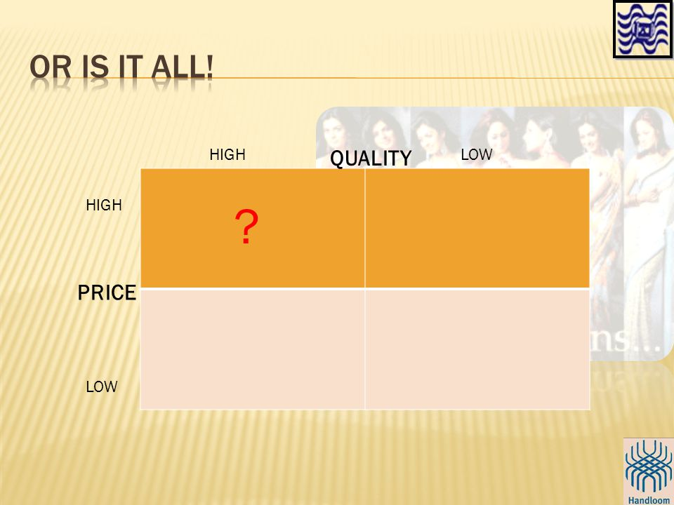 QUALITY PRICE HIGH LOW HIGH LOW