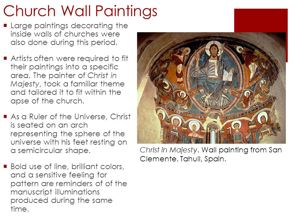 Church Wall Paintings  Large paintings decorating the inside walls of churches were also done during this period.  Artists often were required to fi