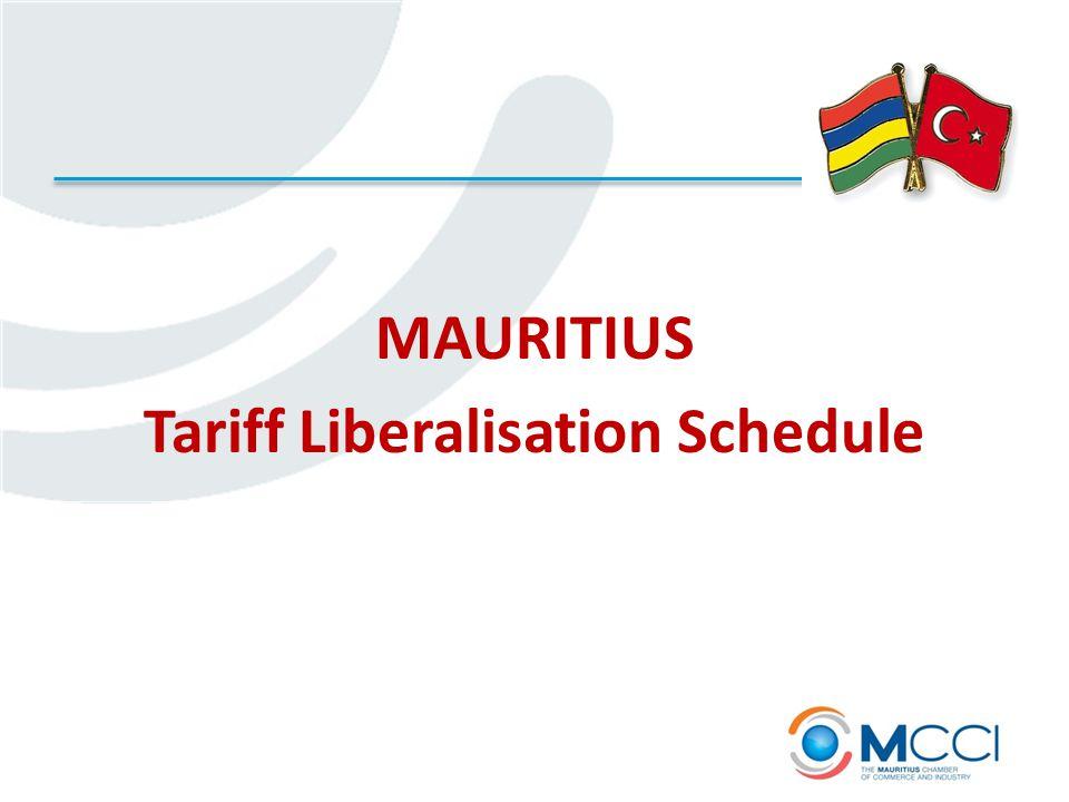 MAURITIUS Tariff Liberalisation Schedule