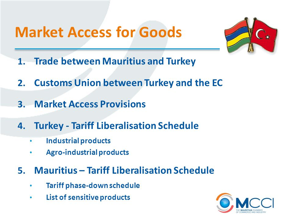 Market Access for Goods 1. Trade between Mauritius and Turkey 2.