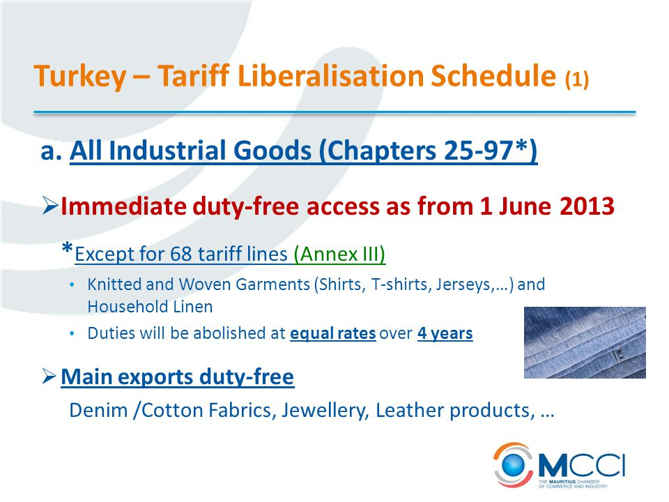 Turkey – Tariff Liberalisation Schedule (1) a.
