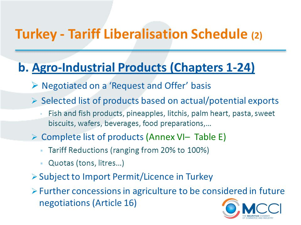 Turkey - Tariff Liberalisation Schedule (2) b.
