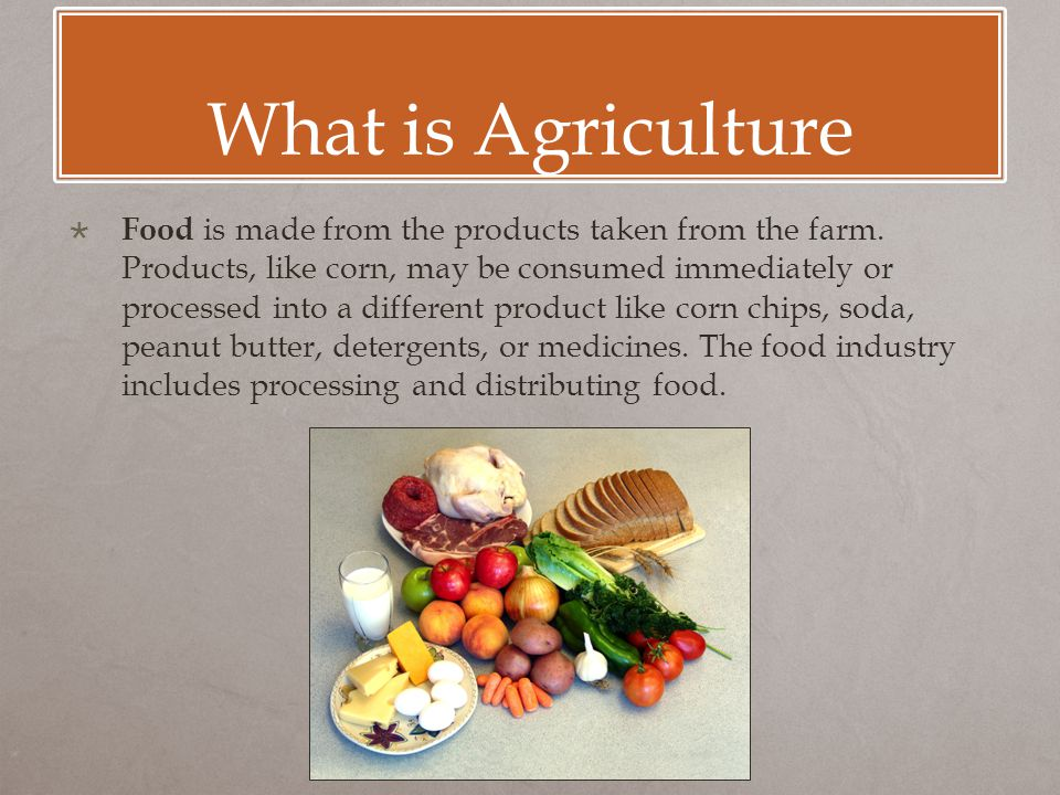 What is Agriculture  Food is made from the products taken from the farm.