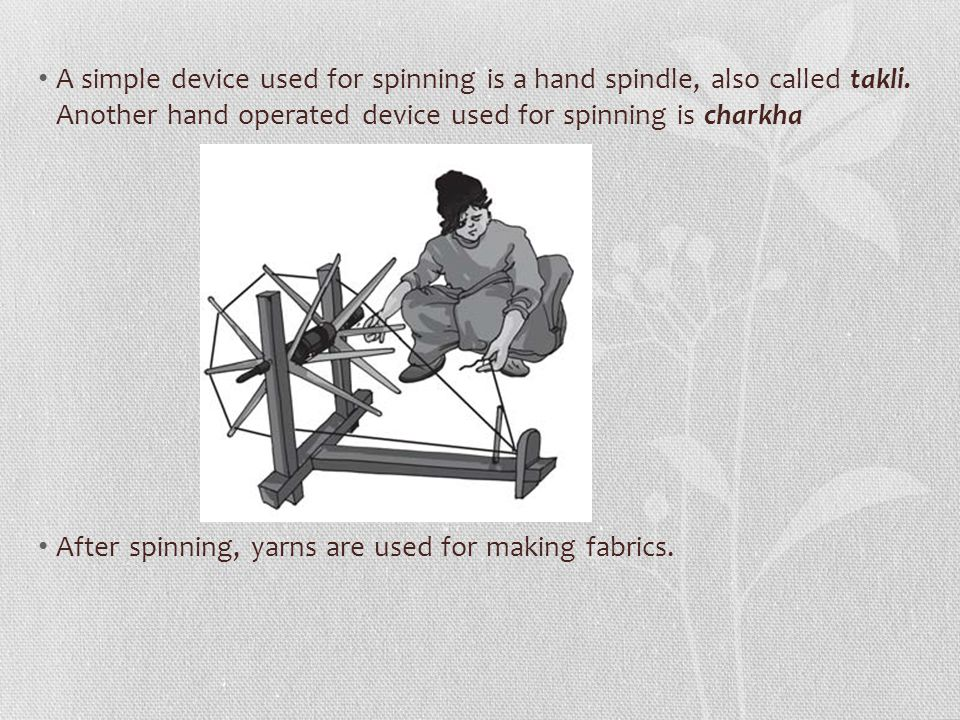 Spinning Cotton Yarn The process of making yarn from fibres is called Spinning. In this process, fibres from a mass of cotton wool are drawn out and t