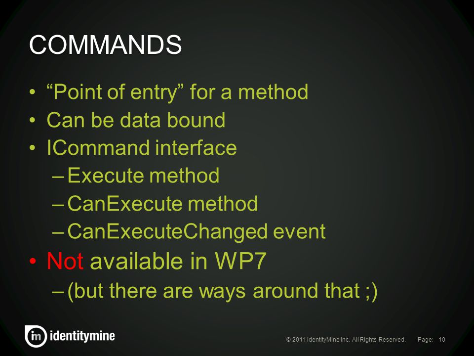 Page: COMMANDS © 2011 IdentityMine Inc.