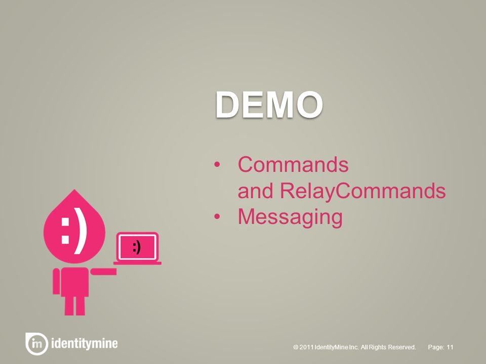 DEMO © 2011 IdentityMine Inc. All Rights Reserved. 11Page: Commands and RelayCommands Messaging
