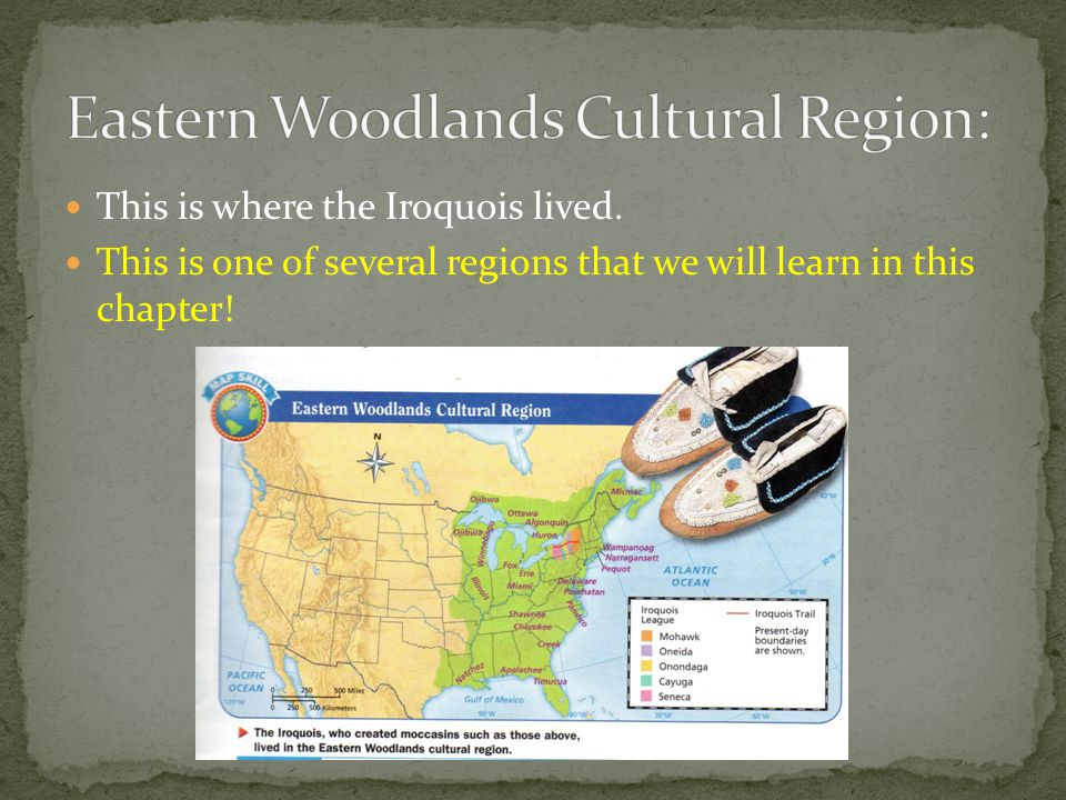 This is where the Iroquois lived. This is one of several regions that we will learn in this chapter!
