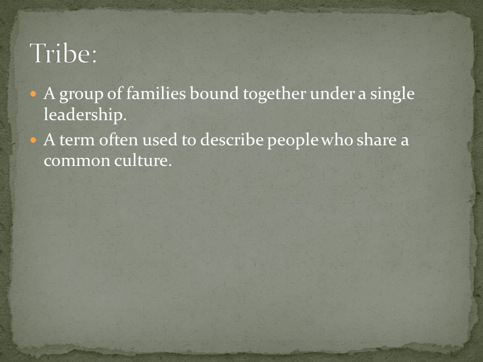 A group of families bound together under a single leadership. A term often used to describe people who share a common culture.