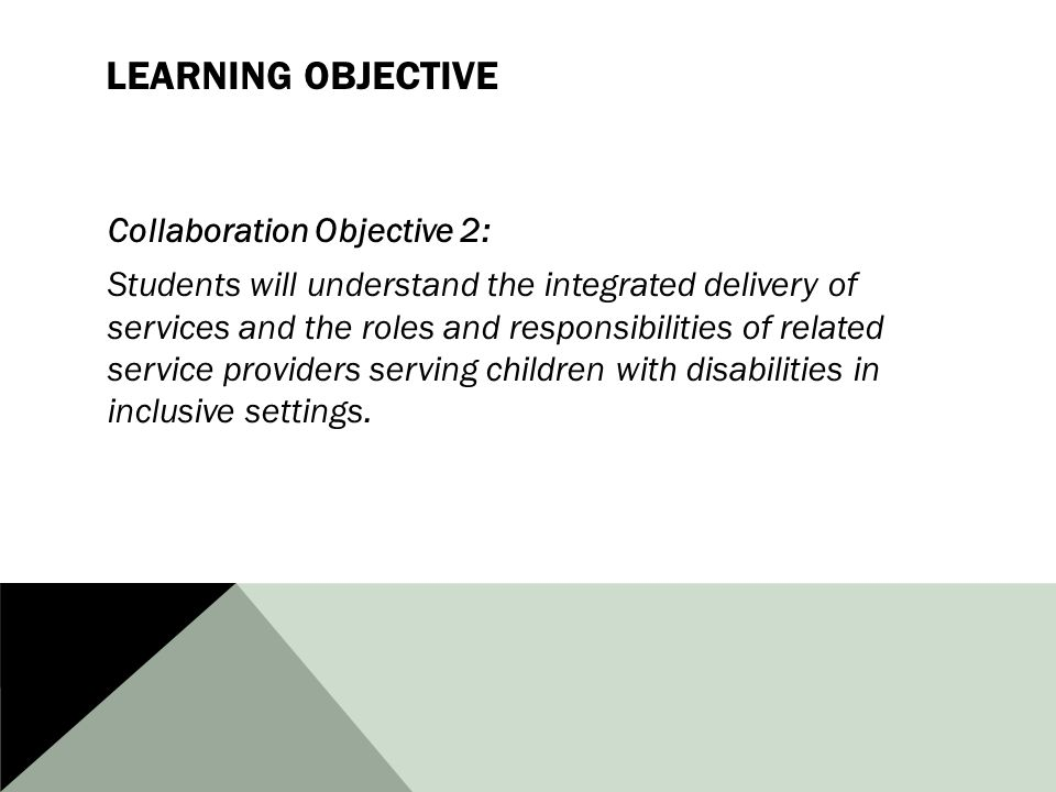 LEARNING OBJECTIVE Collaboration Objective 2: Students will understand the integrated delivery of services and the roles and responsibilities of related service providers serving children with disabilities in inclusive settings.