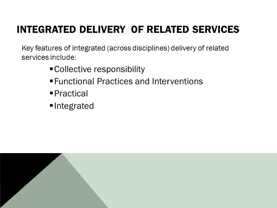 INTEGRATED DELIVERY OF RELATED SERVICES Key features of integrated (across disciplines) delivery of related services include:  Collective responsibility  Functional Practices and Interventions  Practical  Integrated