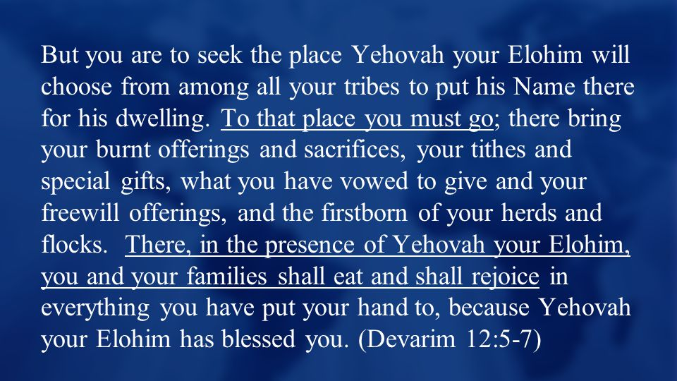 But you are to seek the place Yehovah your Elohim will choose from among all your tribes to put his Name there for his dwelling.