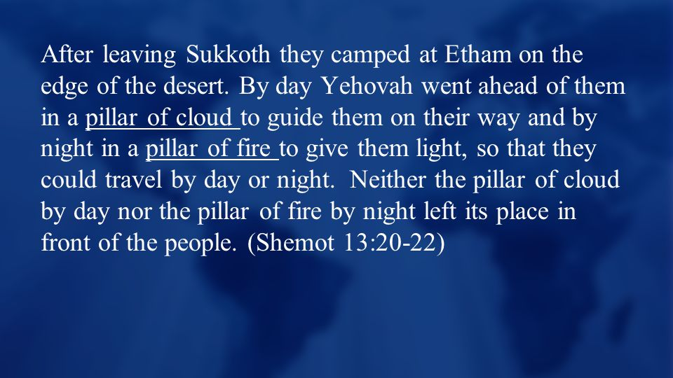 After leaving Sukkoth they camped at Etham on the edge of the desert.