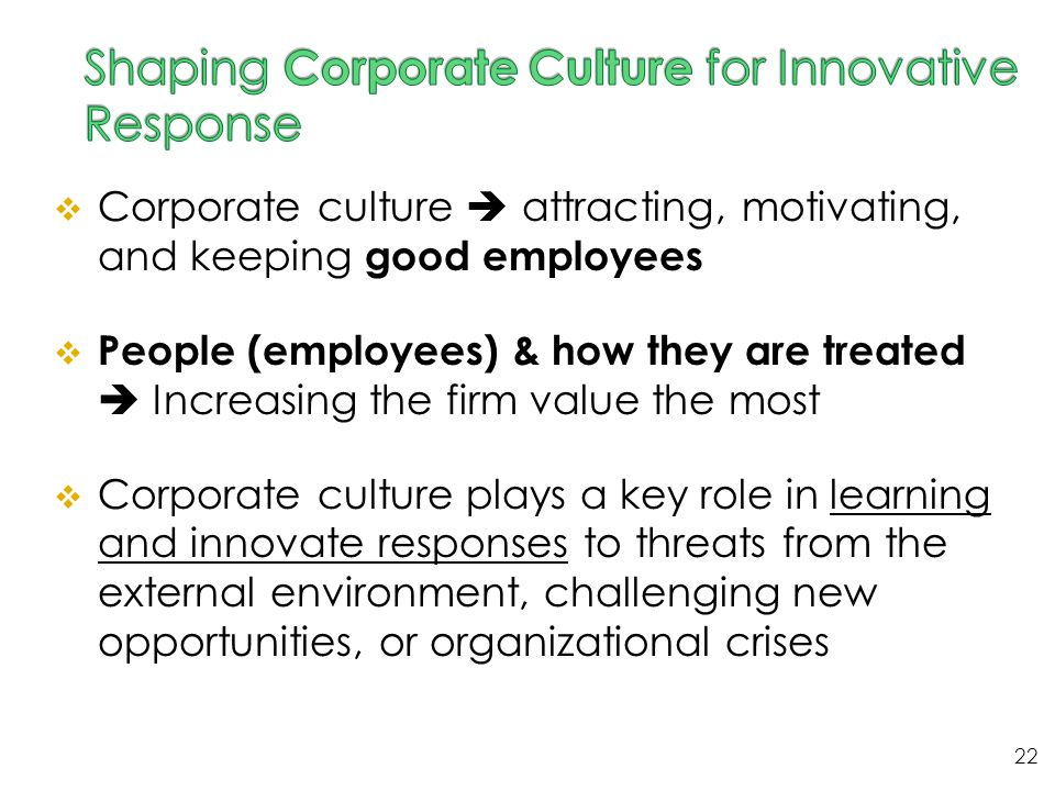  Corporate culture  attracting, motivating, and keeping good employees  People (employees) & how they are treated  Increasing the firm value the m