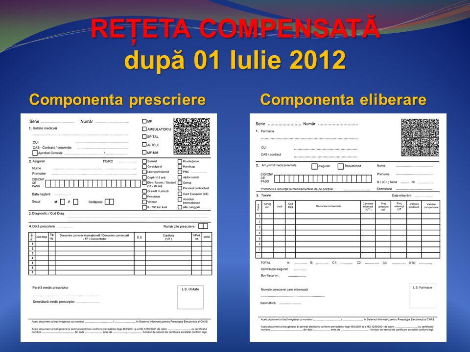 REŢETA COMPENSATĂ după 01 Iulie 2012 Componenta prescriere Componenta eliberare