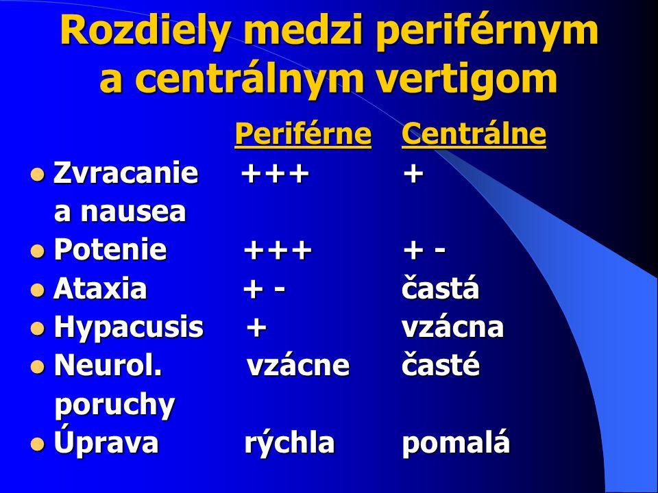 Rozdiely medzi periférnym a centrálnym vertigom Periférne Periférne Zvracanie +++ Zvracanie +++ a nausea a nausea Potenie +++ Potenie +++ Ataxia + - Ataxia + - Hypacusis + Hypacusis + Neurol.