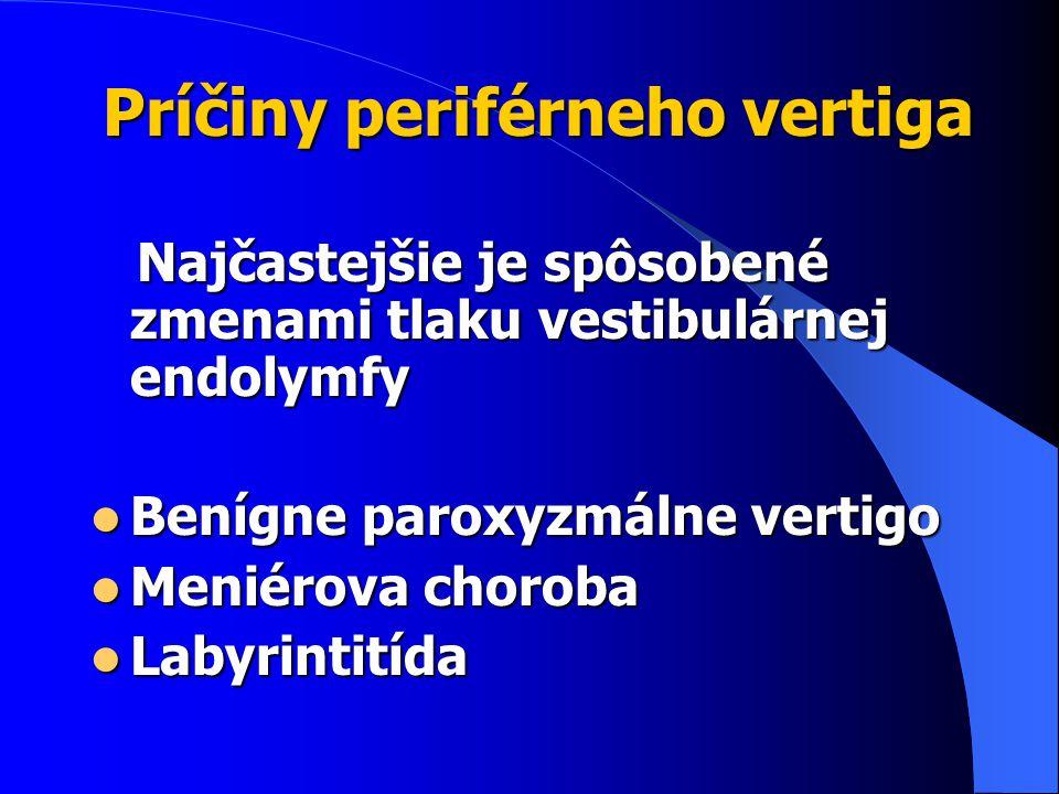 Príčiny periférneho vertiga Najčastejšie je spôsobené zmenami tlaku vestibulárnej endolymfy Najčastejšie je spôsobené zmenami tlaku vestibulárnej endolymfy Benígne paroxyzmálne vertigo Benígne paroxyzmálne vertigo Meniérova choroba Meniérova choroba Labyrintitída Labyrintitída