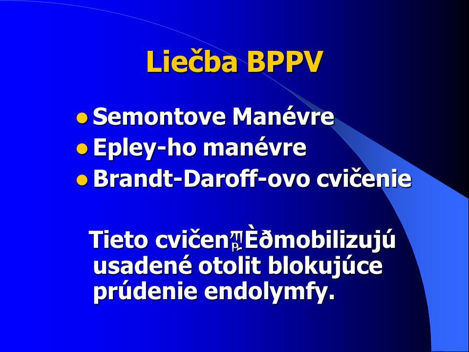 Liečba BPPV Semontove Manévre Semontove Manévre Epley-ho manévre Epley-ho manévre Brandt-Daroff-ovo cvičenie Brandt-Daroff-ovo cvičenie Tieto cvičen ཀྵ Ѐðmobilizujú usadené otolit blokujúce prúdenie endolymfy.