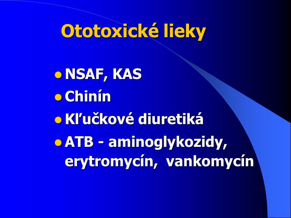 Ototoxické lieky NSAF, KAS NSAF, KAS Chinín Chinín Kľučkové diuretiká Kľučkové diuretiká ATB - aminoglykozidy, erytromycín, vankomycín ATB - aminoglykozidy, erytromycín, vankomycín