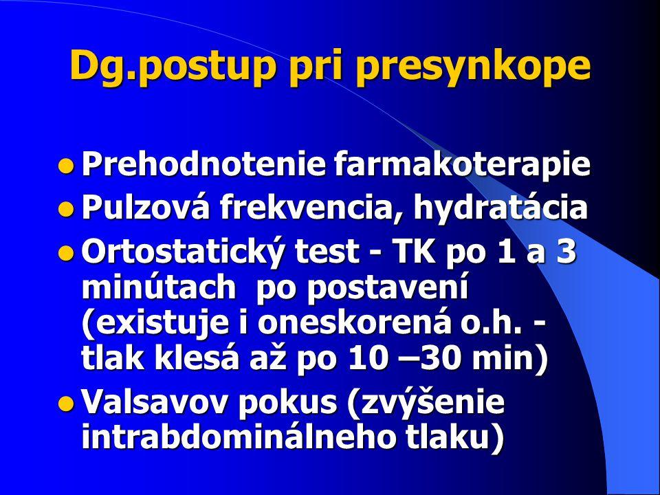 Dg.postup pri presynkope Prehodnotenie farmakoterapie Prehodnotenie farmakoterapie Pulzová frekvencia, hydratácia Pulzová frekvencia, hydratácia Ortostatický test - TK po 1 a 3 minútach po postavení (existuje i oneskorená o.h.