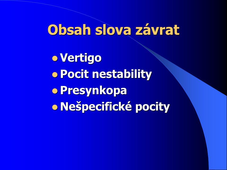 Obsah slova závrat Vertigo Vertigo Pocit nestability Pocit nestability Presynkopa Presynkopa Nešpecifické pocity Nešpecifické pocity