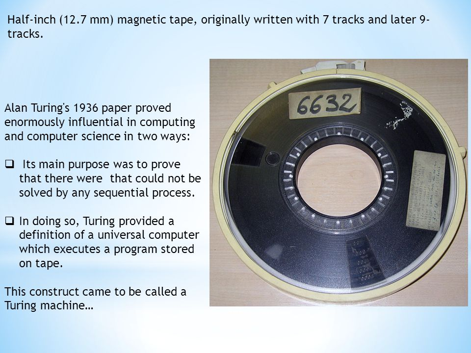 Half-inch (12.7 mm) magnetic tape, originally written with 7 tracks and later 9- tracks.