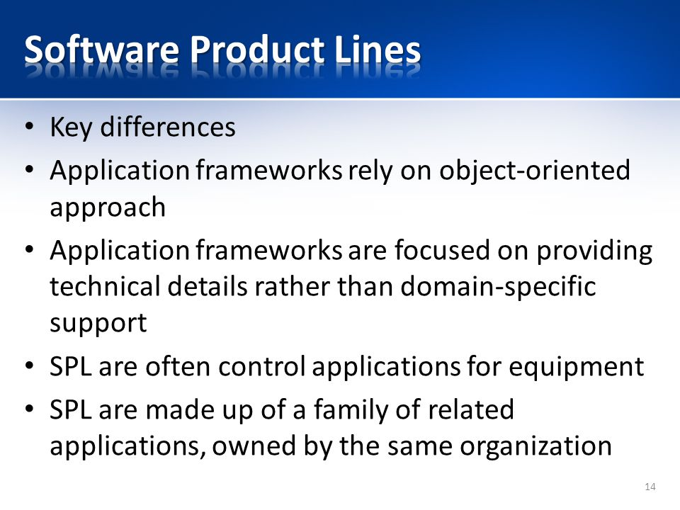 Key differences Application frameworks rely on object-oriented approach Application frameworks are focused on providing technical details rather than