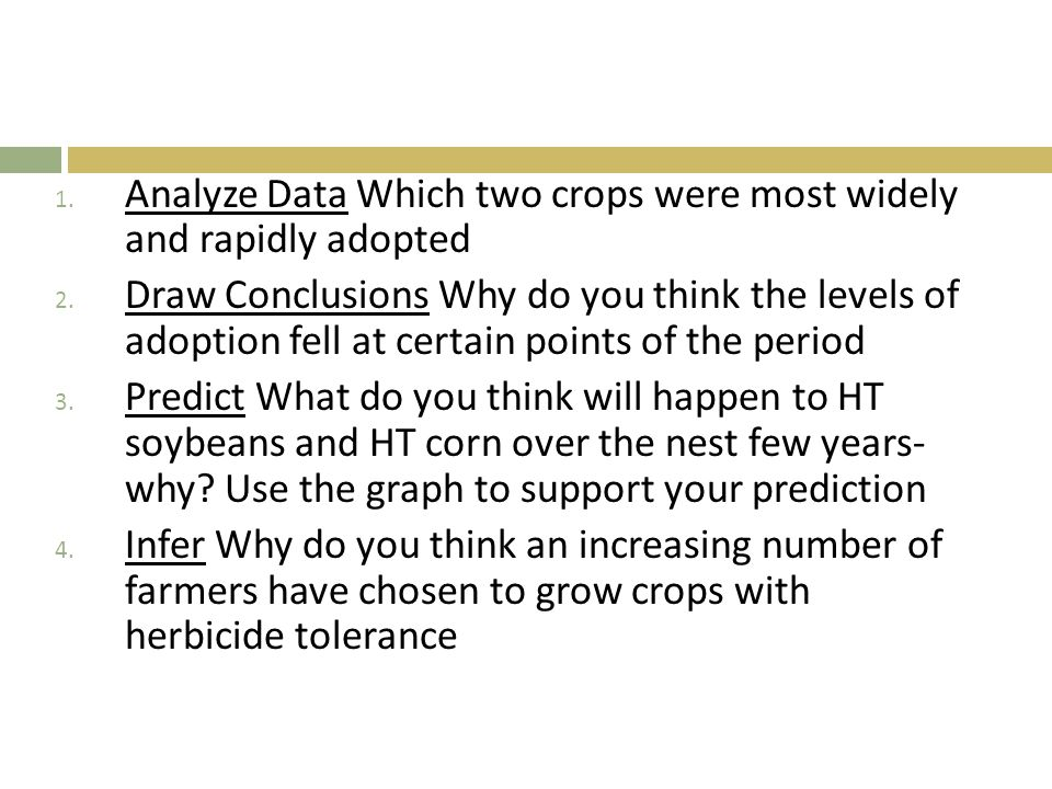 1.Analyze Data Which two crops were most widely and rapidly adopted 2.
