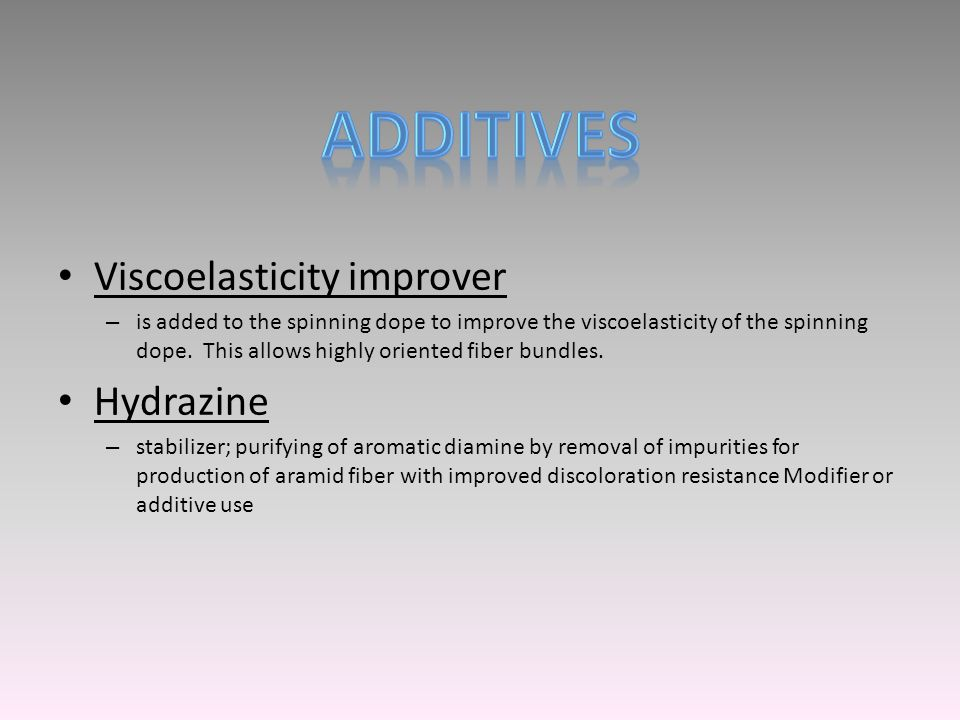 Viscoelasticity improver – is added to the spinning dope to improve the viscoelasticity of the spinning dope. This allows highly oriented fiber bundle