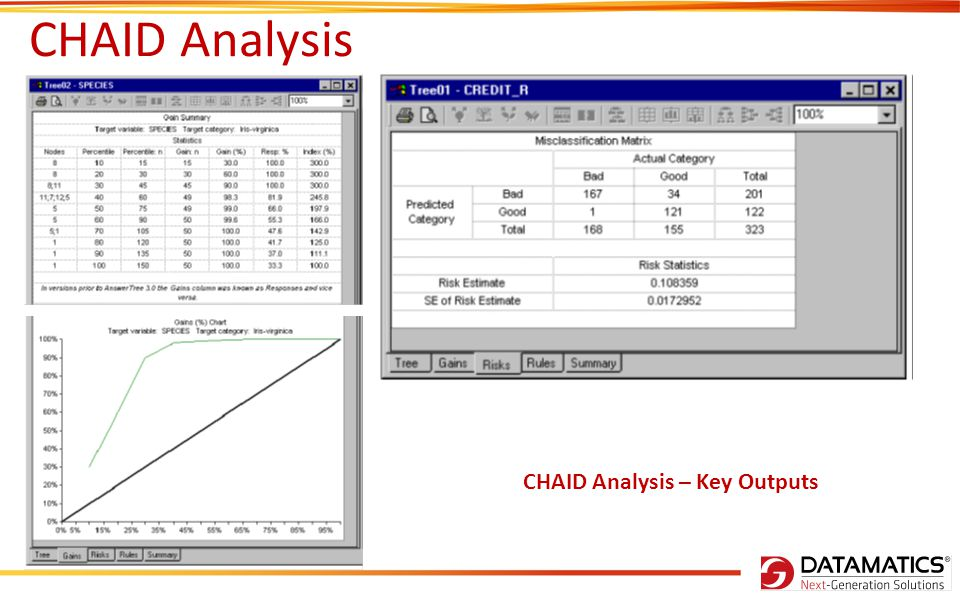 CHAID Analysis CHAID Analysis – Key Outputs