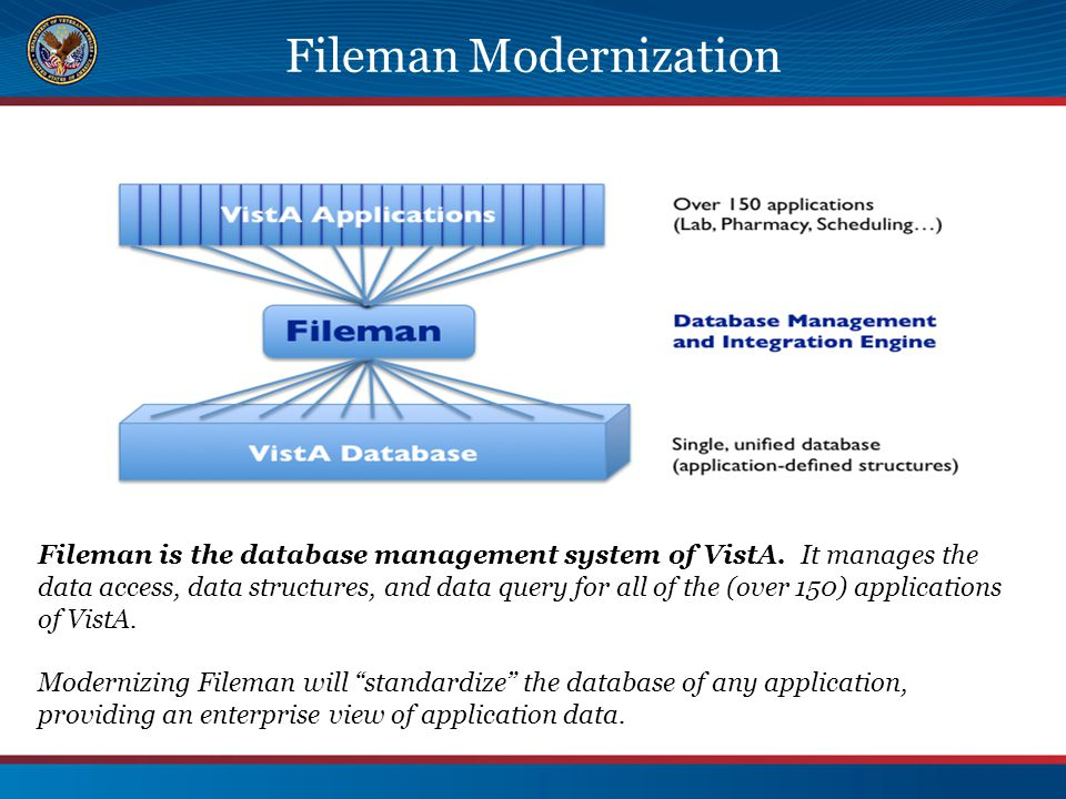 Fileman Modernization Fileman is the database management system of VistA. It manages the data access, data structures, and data query for all of the (