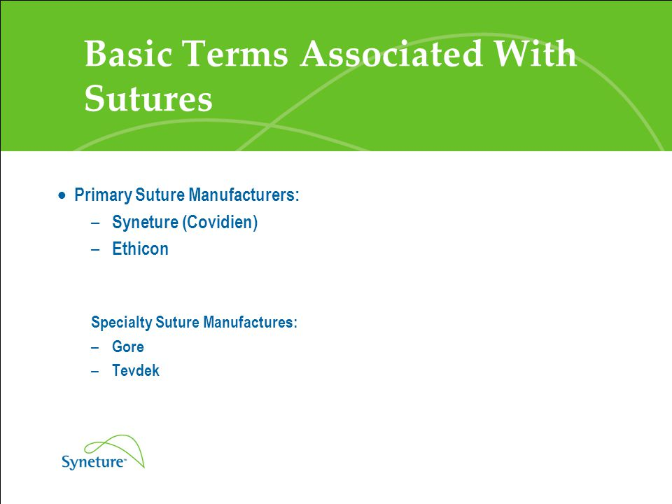 Types of Suture Material Types of Suture Material: – Absorbable - Suture material is absorbed over time by the body.