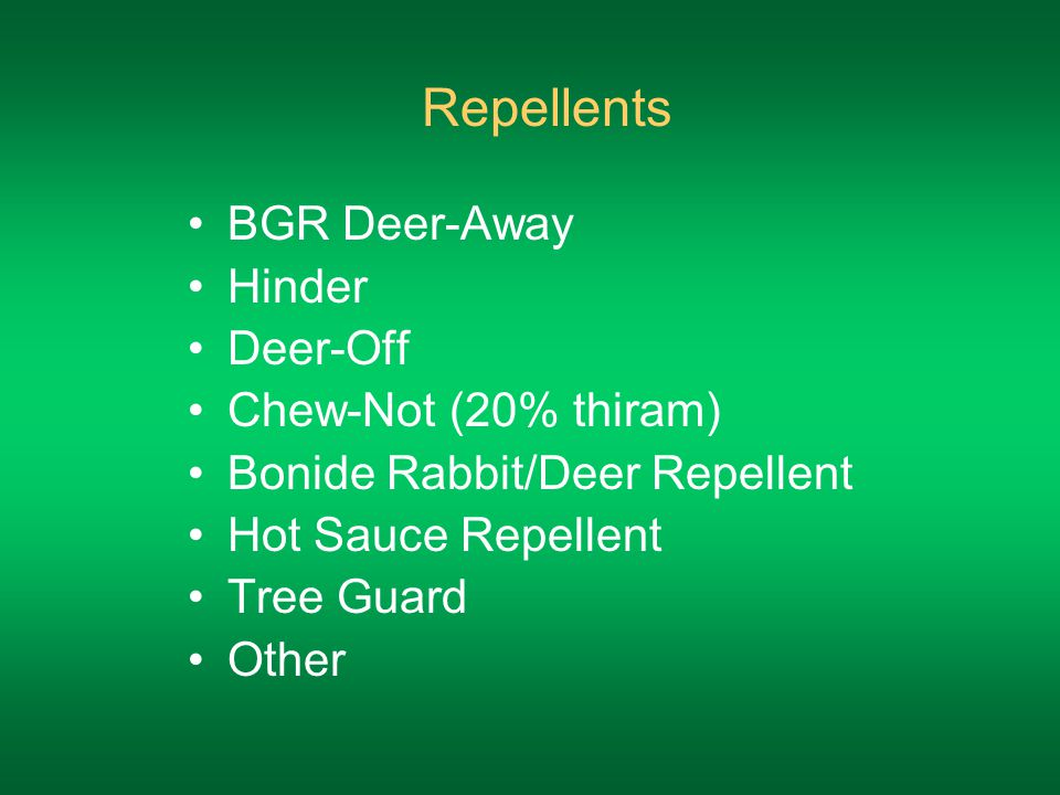 Repellents BGR Deer-Away Hinder Deer-Off Chew-Not (20% thiram) Bonide Rabbit/Deer Repellent Hot Sauce Repellent Tree Guard Other