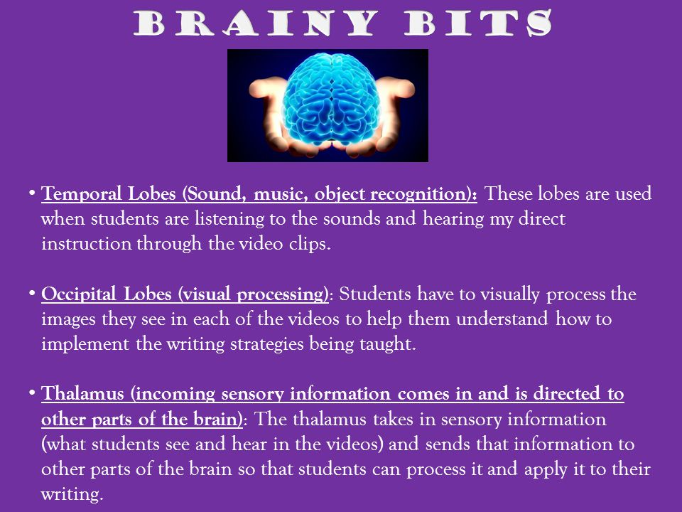 Temporal Lobes (Sound, music, object recognition): These lobes are used when students are listening to the sounds and hearing my direct instruction through the video clips.
