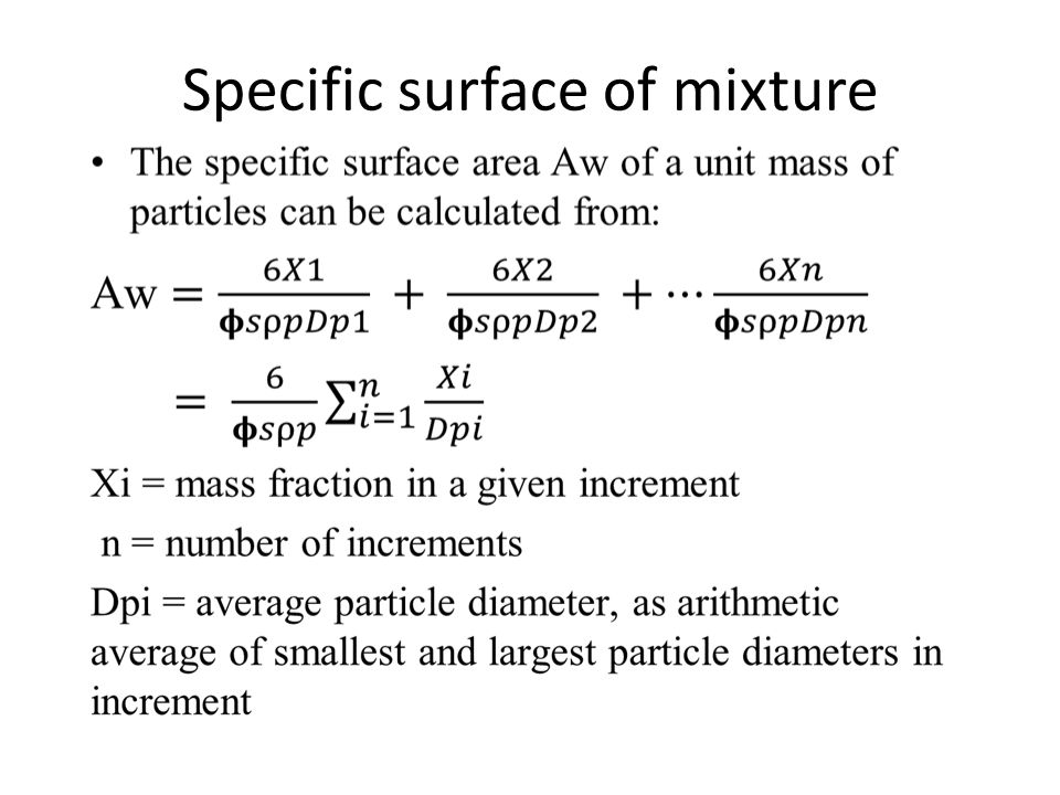 Specific surface of mixture