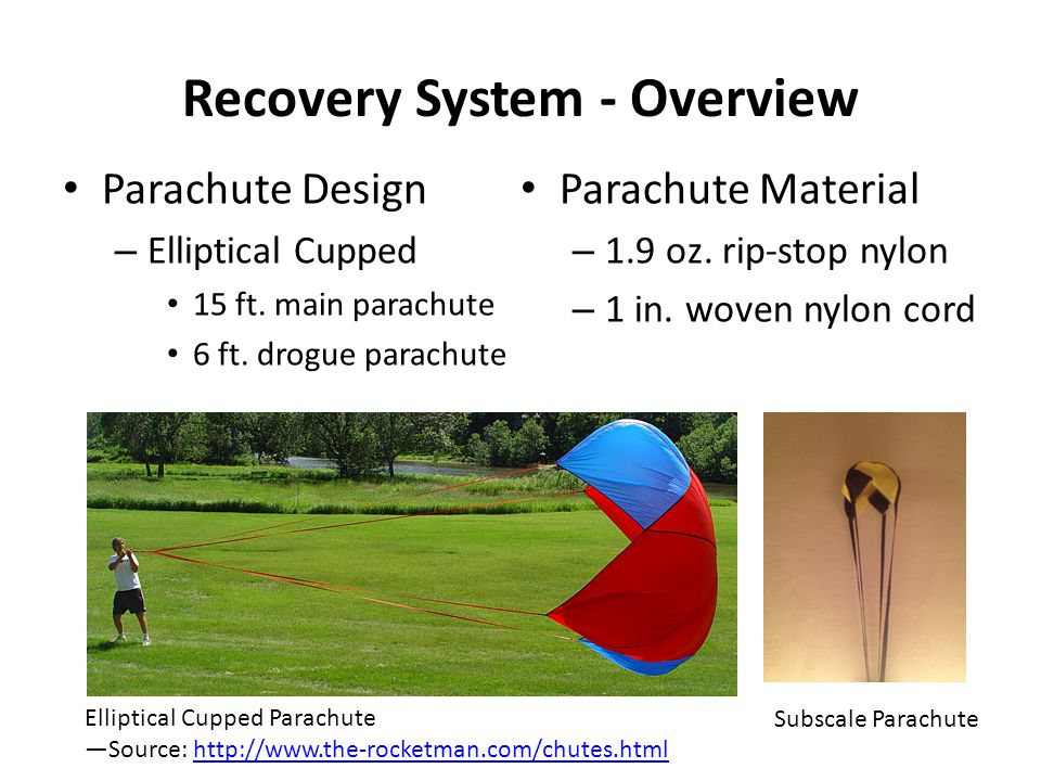 Recovery System - Overview Parachute Design – Elliptical Cupped 15 ft.
