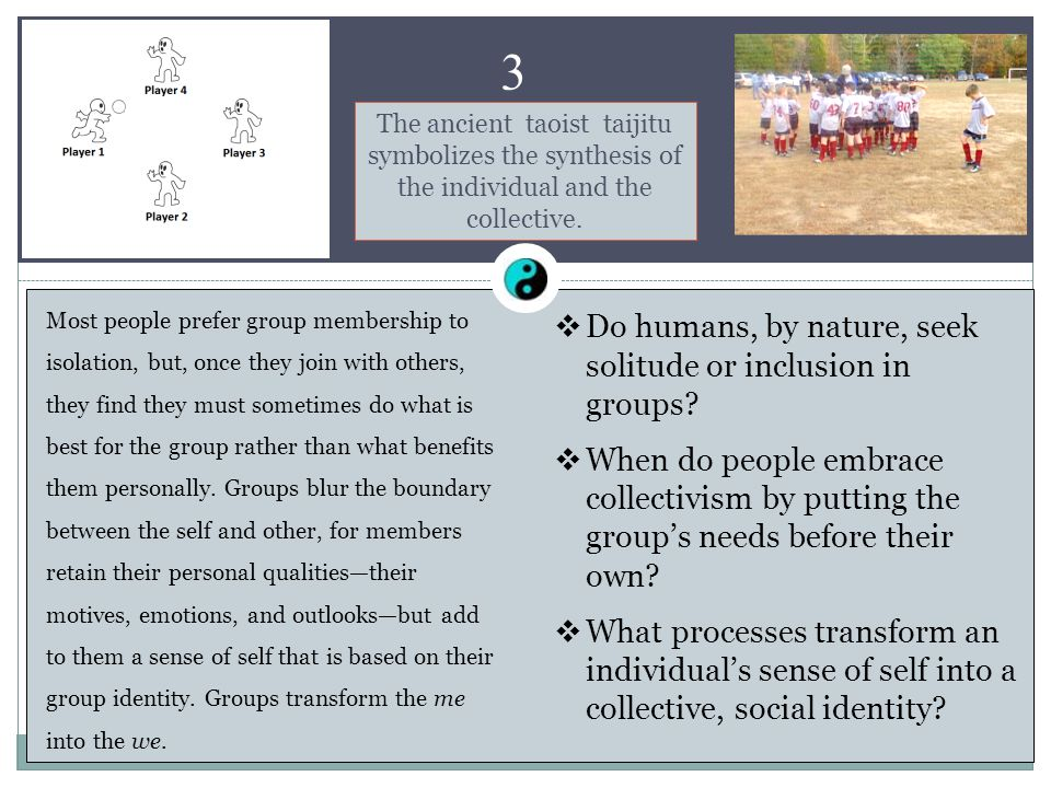 1 Chapter 3 Inclusion and Identity Most people prefer group membership to isolation, but, once they join with others, they find they must sometimes do