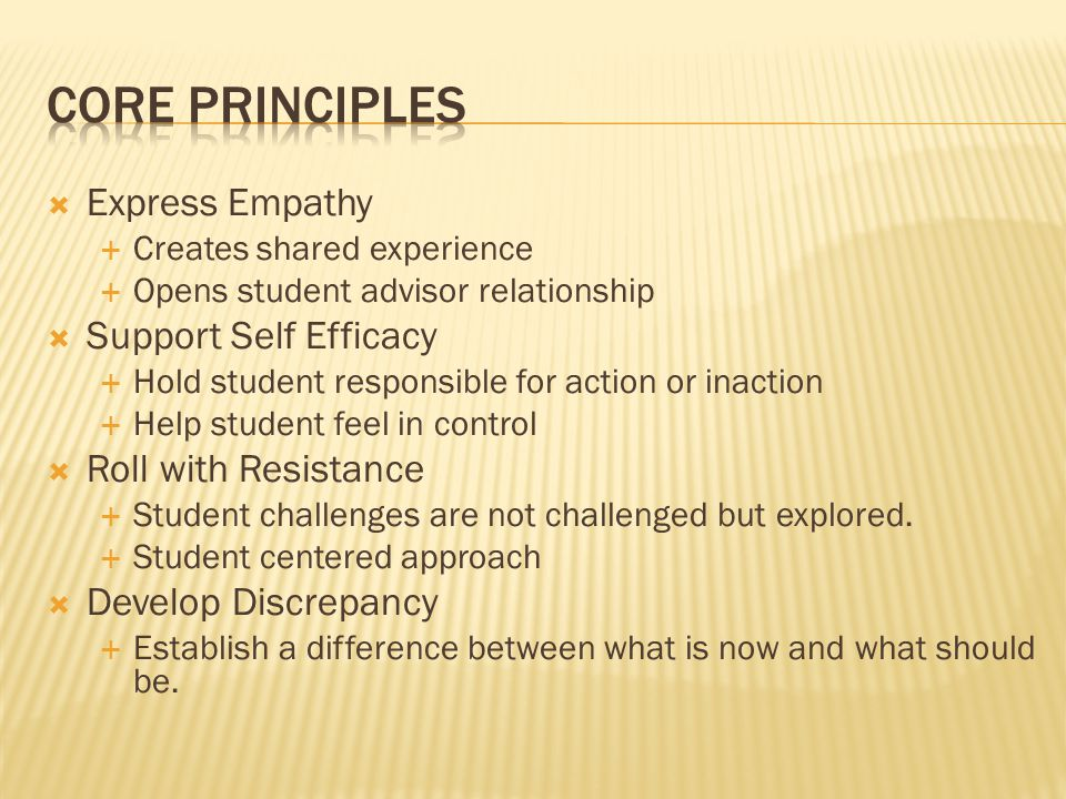  Express Empathy  Creates shared experience  Opens student advisor relationship  Support Self Efficacy  Hold student responsible for action or inaction  Help student feel in control  Roll with Resistance  Student challenges are not challenged but explored.