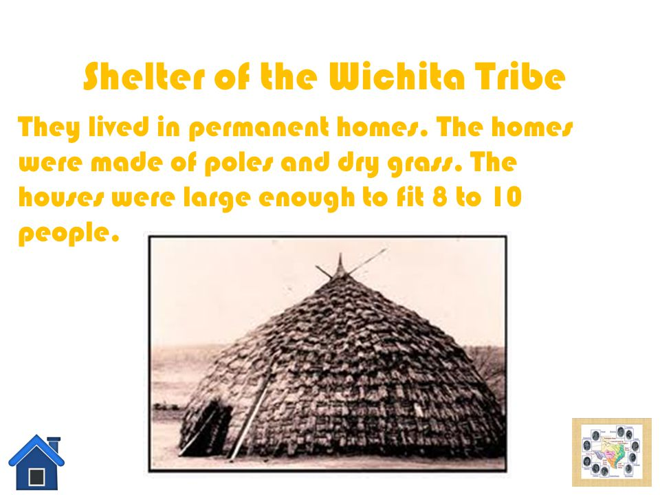 Food of the Wichita Tribe In the Wichita tribe they eat beans, corn, melons, and quash. They also eat deer and buffalo. They are all natural foods tha