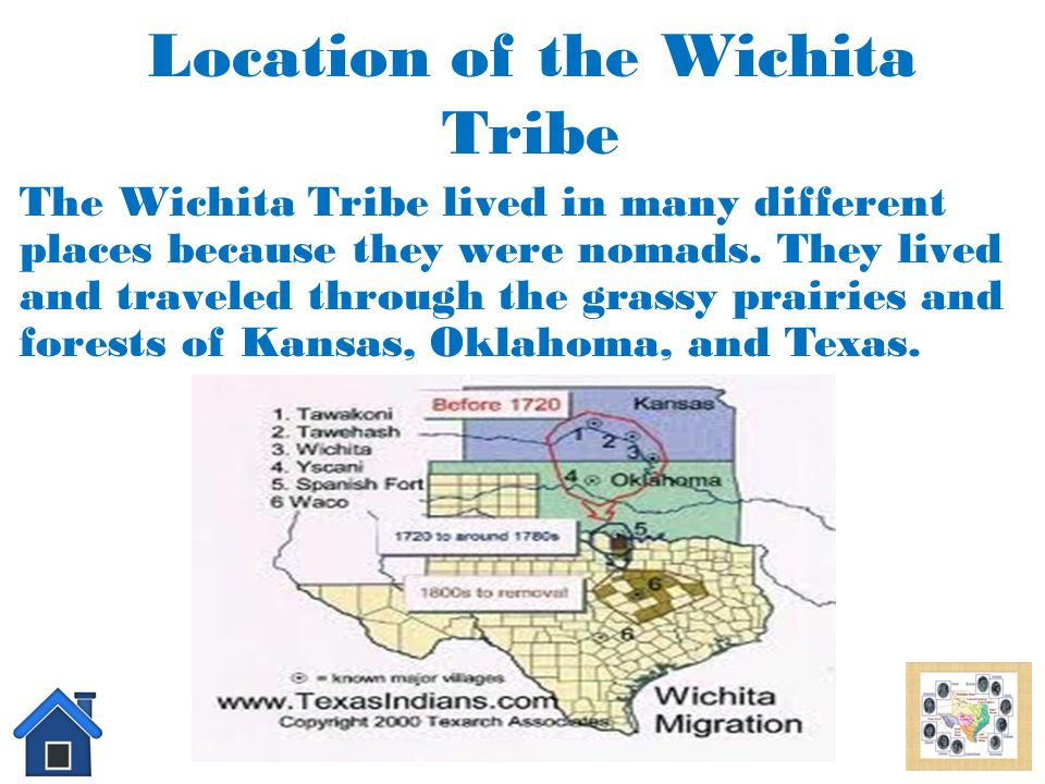 Interesting Facts About the Wichita tribe The Wichita tribe had its own government, laws, police, and services just like a small country. The Wichita