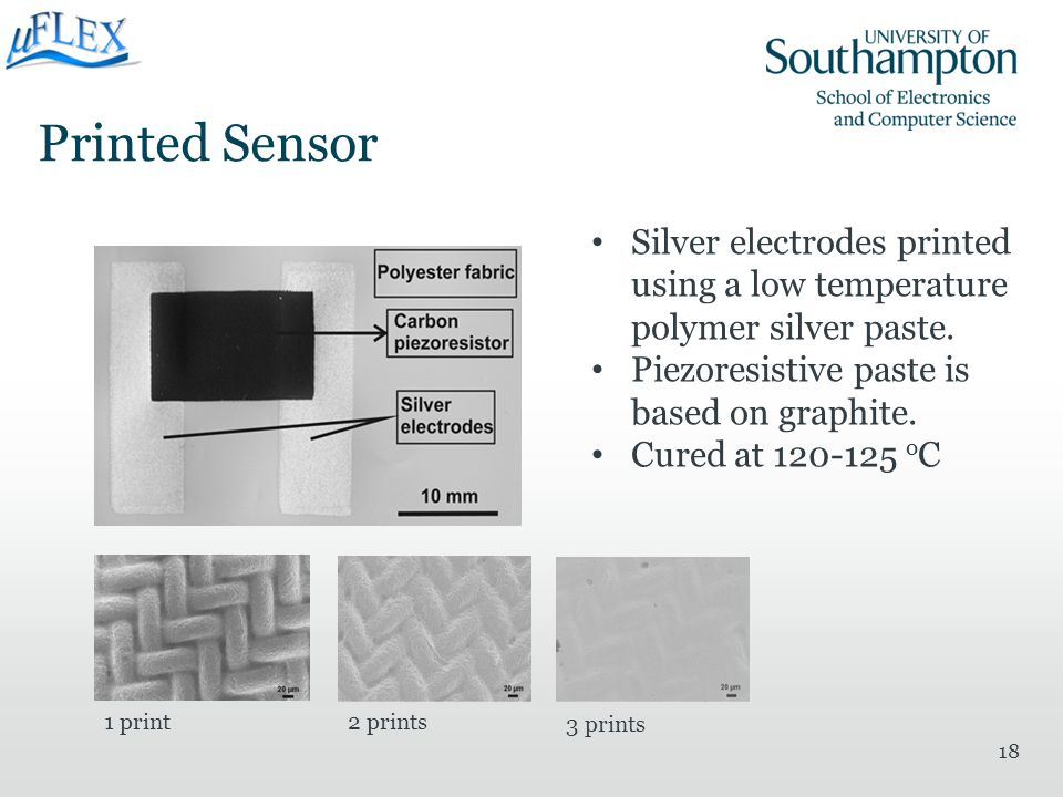 Printed Sensor 18 Silver electrodes printed using a low temperature polymer silver paste. Piezoresistive paste is based on graphite. Cured at 120-125
